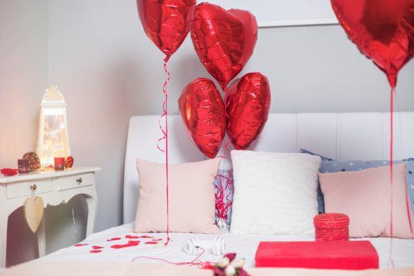 Decoracion casa globos corazon