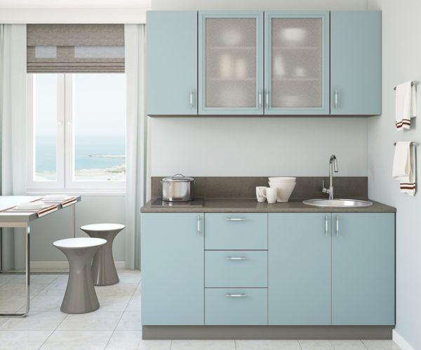 Cocinas azules y grises