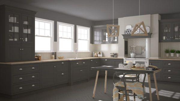 Cocinas grises y madera