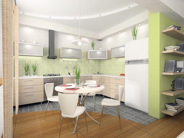 Cocinas verdes con comedor