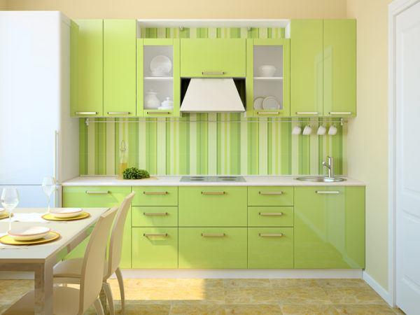 Cocinas verdes con papel pintado