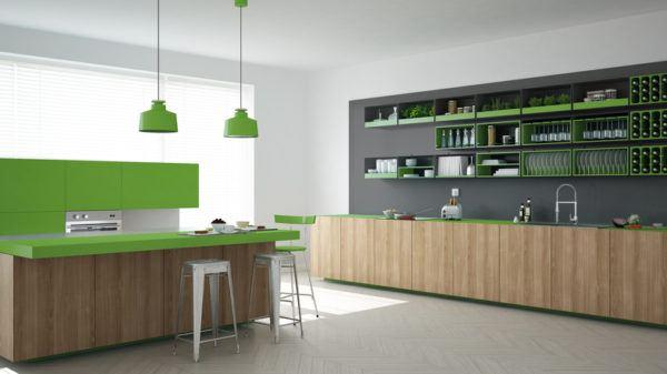 Cocinas verdes modernas