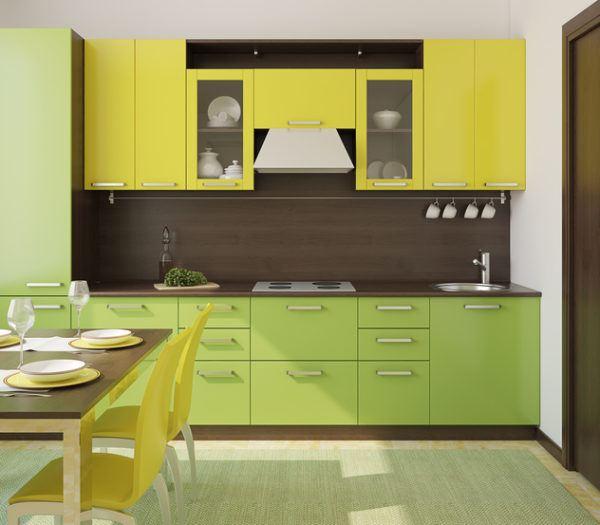 Cocinas verdes y amarillas
