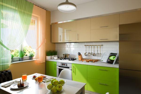 Cocinas verdes y beige