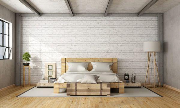 Ideas para decorar una habitacion de matrimonio rustica banco de madera