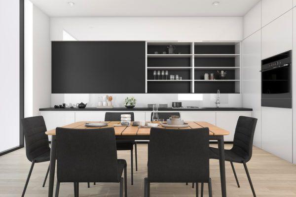 Comedores modernos con muebles en negro