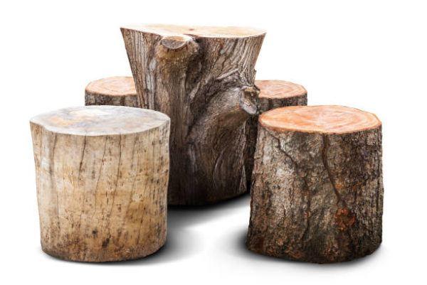 Como decorar con troncos de madera mesas pequeñas