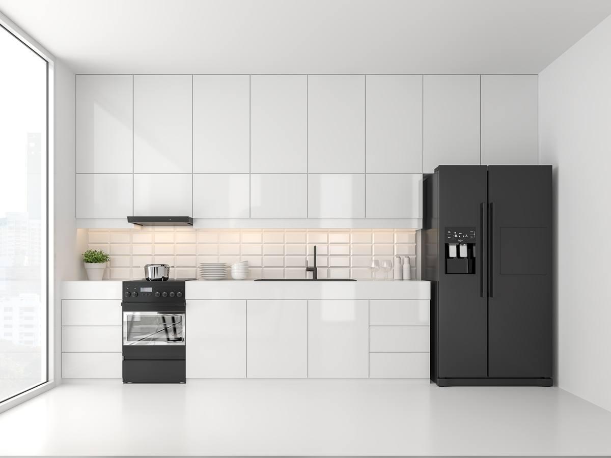 Cocinas blancas y modernas muebles electrodomesticos negros