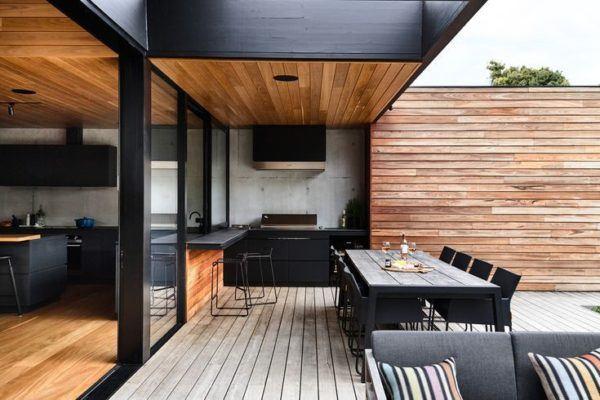 Ideas para decorar terrazas cubiertas muebles madera estilo moderno