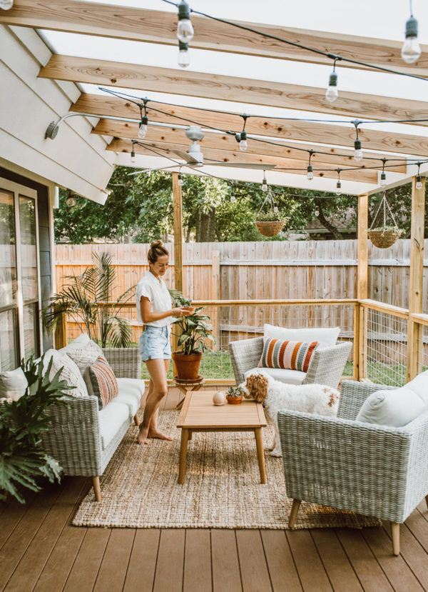 Ideas para decorar terrazas cubiertas muebles rafia estilo moderno
