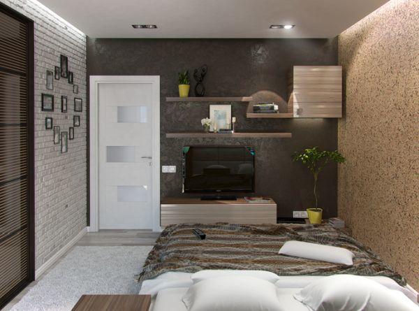 Estante con soportes ocultos en el dormitorio