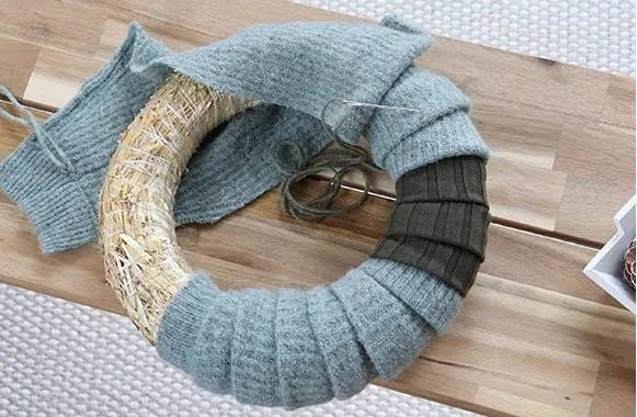 Como hacer corona de adviento lana 1