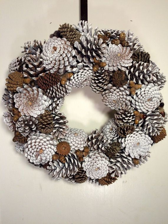 Como hacer coronas de navidad a mano piña