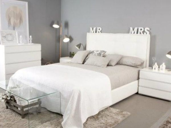 23 fotos de decoraci n de dormitorios modernos for Dormitorio gris y blanco