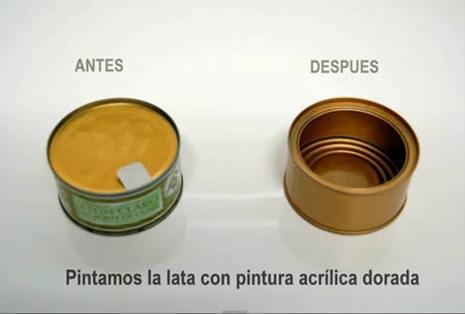 Manualidades latas   portavelas