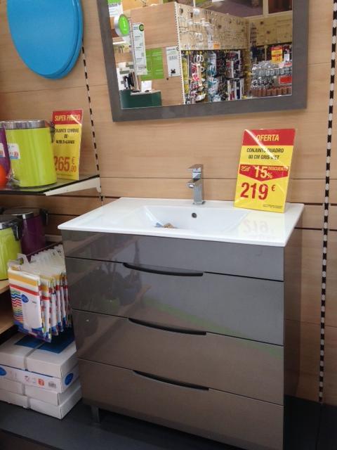 Muebles De Baño Gris Alto Brillo:rechazar en el conjunto de mueble de lavabo y espejo Gris alto brillo