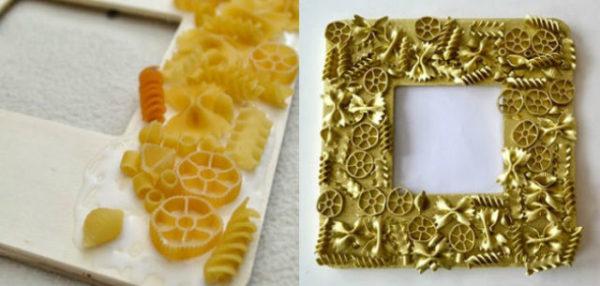Marcos de fotos para el día del padre hechos con pasta