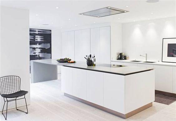 la isla blanca la pared negra y el maravilloso ventanal se encargan de dar majestuosidad a una estancia sublime - Cocinas Modernas Blancas