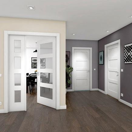 Dise os de puertas de interior 2019 blancas de madera for Puertas correderas salon decoracion