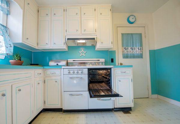 Cocinas azules y blancas antigua