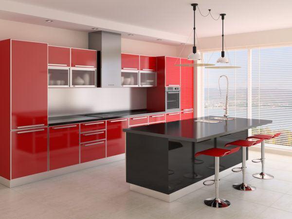 Cocinas rojas con isla