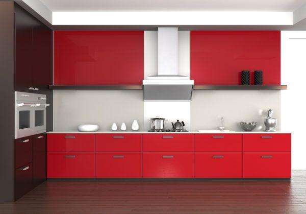 Cocinas rojas sin cajones