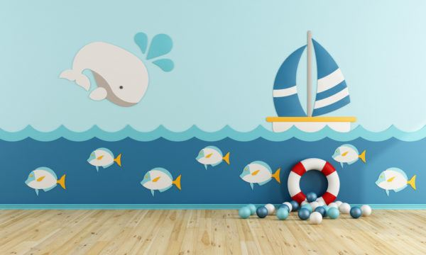 Ideas para decorar una pared infantil fondo marino