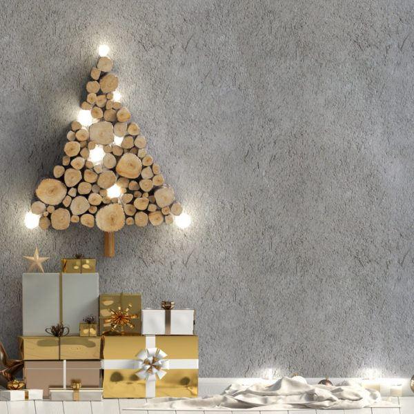 Arbol de Navidad con troncos de madera