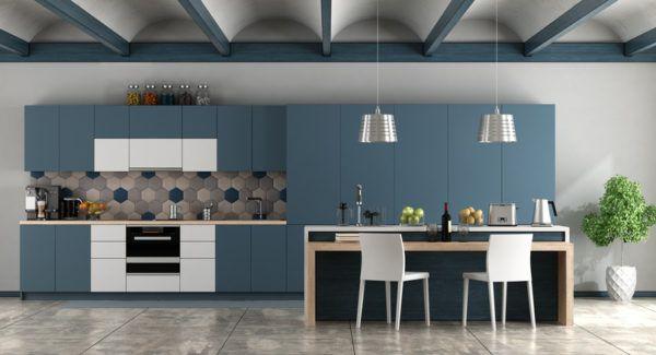 Decoracion vigas madera cocina azul