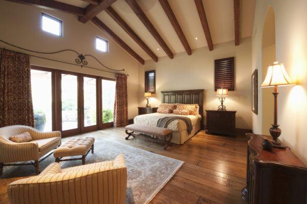 Decoracion vigas madera dormitorio